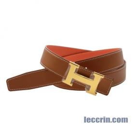 HERMES BELT BELT RED/GOLD (9J/37) LEATHER GP 100CM