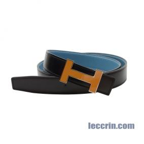 HERMES BELT BLUE / BLACK (75/89) LEATHER YELLOW BUCKLE 100 CM