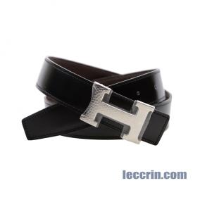 HERMES BELT CHOCOLATE BROWN/BLACK (47/89)  LEATHER SS 85CM