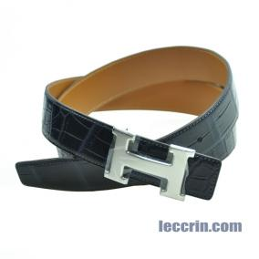 HERMES BELT DARK BLUE /GOLD (7K/37) MAT CROCO SS 95CM BELT7KMCROCOSS95