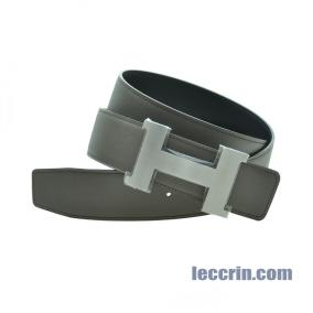 HERMES BELT DARK GREY/ BLACK (8F/89) 95CM BIG SILVER BUCKLE BELT8F89SS95B