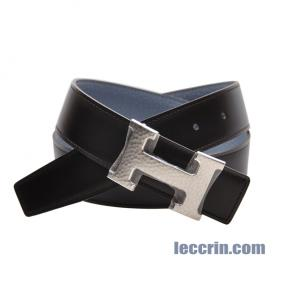 HERMES BELT GREY BLUE/ CHOCOLATE BROWN (J7/46) LEATHER  SS 80CM