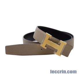 HERMES BELT GRIS TOURTERELLE/ BLACK (81/89) LEATHER GP 85CM