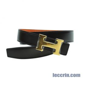 HERMES  BELT ORANGE/CHOCOLATE (93/46) GP 85CM