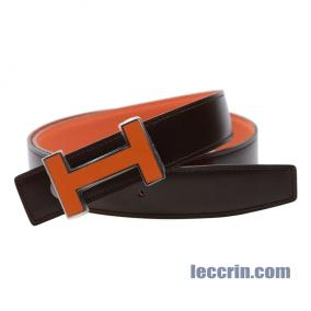 HERMES BELT ORANGE/ EBENE (93/46) LEATHER ORANGE CERAMIC BUCKLE 95CM