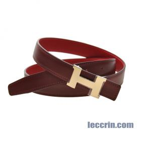 HERMES BELT RED/DARK RED (54/55) LEATHER  SMALL  GP 90CM