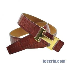 HERMES BELT RED/GOLD (55/37) 85CM MAT CROCO GP