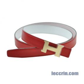 HERMES BELT RED/WHITE (54/01) LEATHER SMALL  GP 90CM