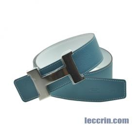 HERMES BELT WHITE/BLUE JEAN (01/75)  80CM SILVER BIG BUCKLE