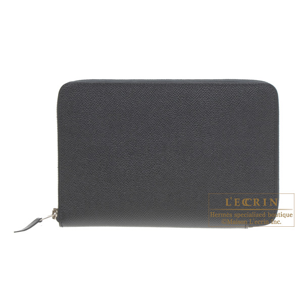 Hermes Azap combined wallet GM Black Epsom leather Silver hardware