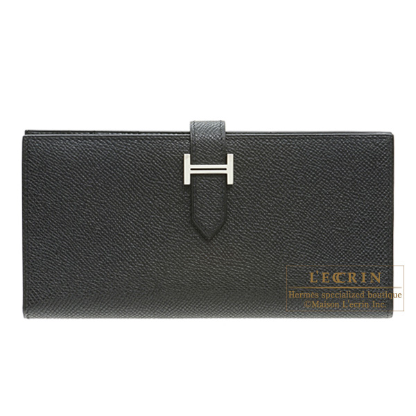 Hermes Bearn bi-fold wallet Black Epsom leather Silver hardware