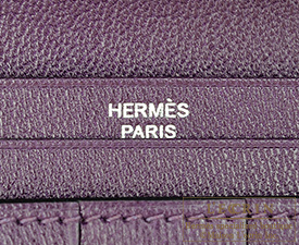 Hermes Bearn bi-fold wallet Amethyst/Purple Alligator crocodile skin Silver hardware