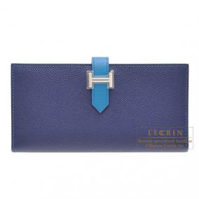 Hermes Bearn bi-fold wallet Bi-color Bleu Saphir/Blue izmir Epsom leather Silver hardware