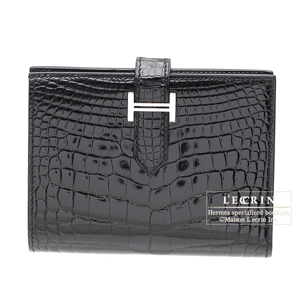 Hermes Bearn compact bi-fold walletBlack Alligator crocodile skin Silver hardware
