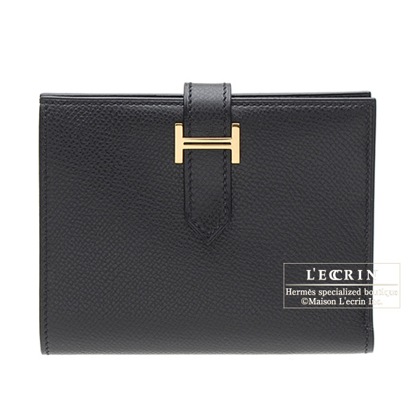 Hermes Bearn compact bi-fold wallet Black Epsom leather Gold hardware