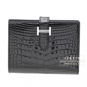 Hermes Bearn compact bi-fold wallet Black Alligator crocodile skin Silver hardware