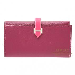 Hermes Bearn tri-fold wallet Bi-color Tosca/Rose Tyrien Epsom leather Silver hardware