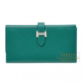 Hermes Bearn tri-fold wallet Malachite/Malachite green Epsom leather Silver hardware