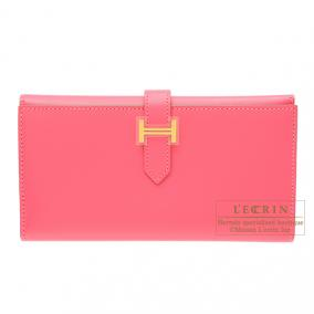 Hermes Bearn tri-fold wallet Rose lipstick Tadelakt leather Gold hardware