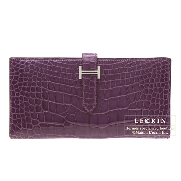 Hermes Bearn wallet with gusset Amethyst/Purple Alligator crocodile skin Silver hardware