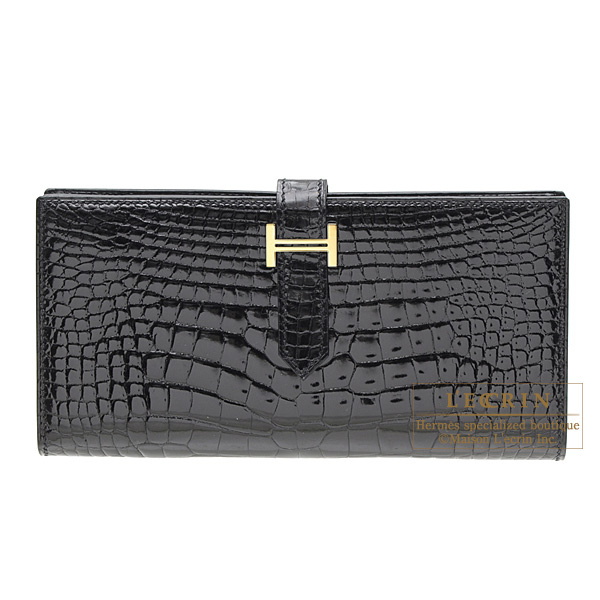 Hermes Bearn wallet with gussetBlack Alligator crocodile skin Gold hardware