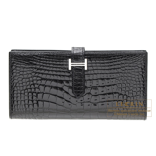 Hermes Bearn wallet with gusset Black Alligator crocodile skin Silver hardware