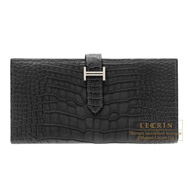 Hermes Bearn wallet with gussetBlack Matt alligator crocodile skinSilver hardware