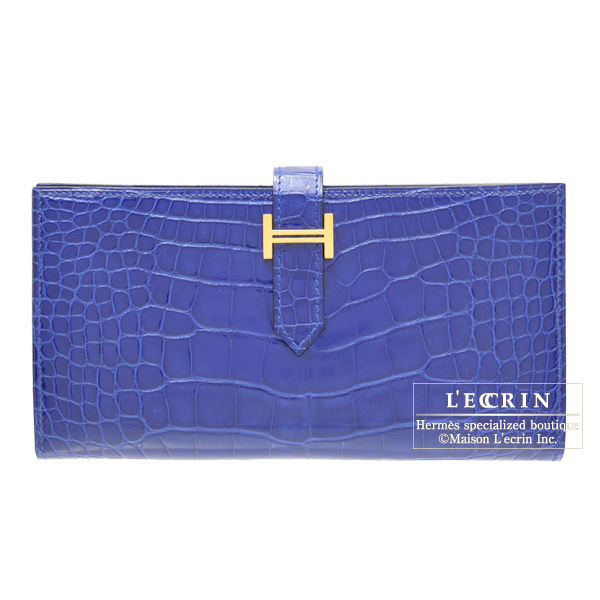 Hermes Bearn wallet with gusset Bleu Electric Alligator crocodile skinGold hardware