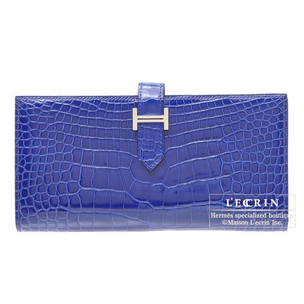 Hermes Bearn wallet with gusset Bleu Electric Alligator crocodile skinSilver hardware