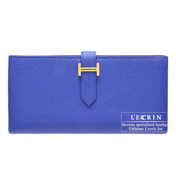 Hermes Bearn wallet with gusset Blue electric Epsom leather Gold hardware