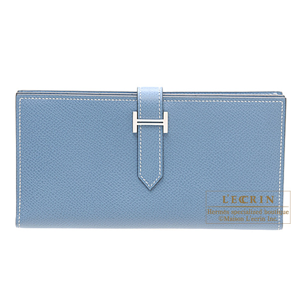 Hermes Bearn wallet with gusset Blue jean Epsom leather Silver hardware