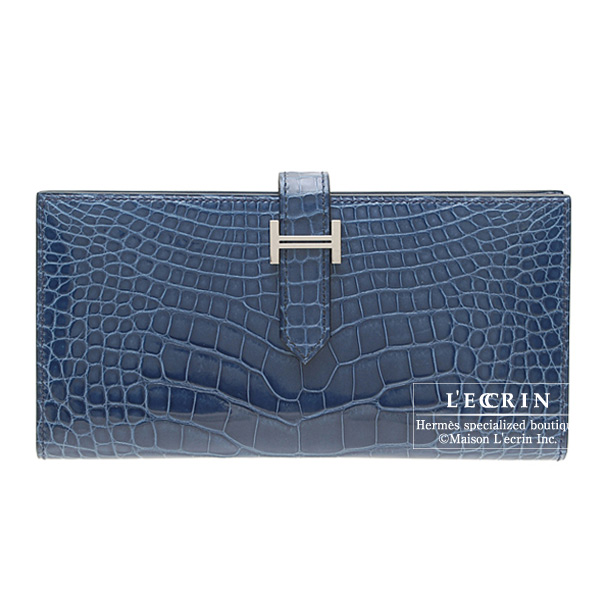 Hermes Bearn wallet with gusset Blue roy/Blue roi Alligator crocodile skin Silver hardware