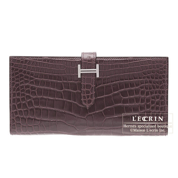Hermes Bearn wallet with gusset Bordeaux/Wine red Alligator crocodile skinSilver hardware