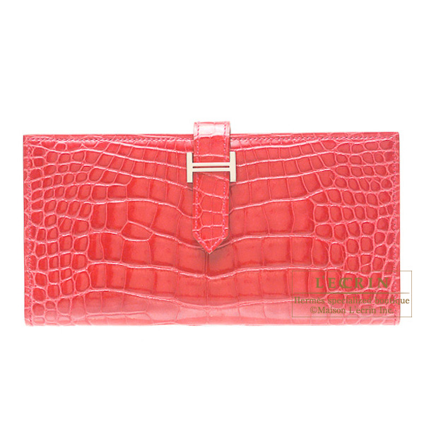 Hermes Bearn wallet with gusset Bougainvillier Alligator crocodile skinSilver hardware