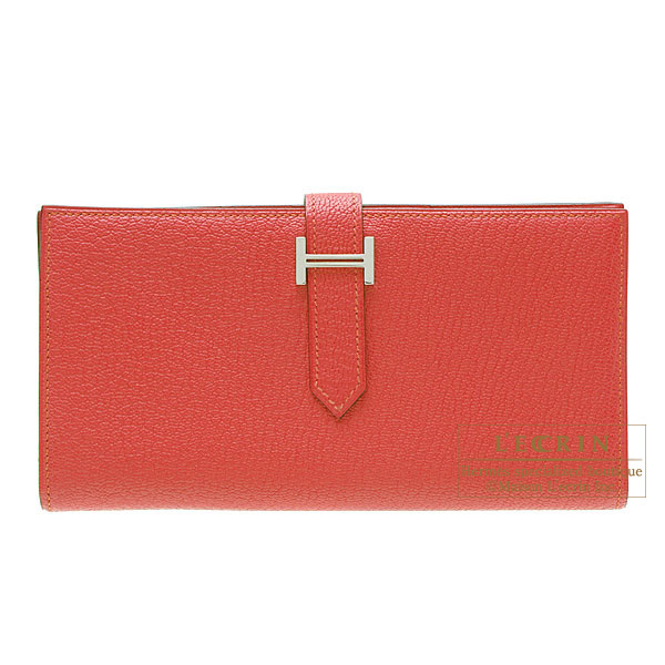 Hermes Bearn wallet with gusset Bougainvillier Chevre goatskin Silver hardware