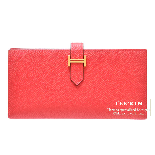 Hermes Bearn wallet with gusset Bougainvillier Epsom leather Gold hardware