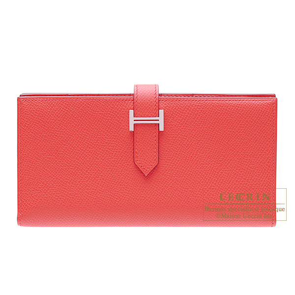 Hermes Bearn wallet with gusset Bougainvillier Epsom leather Silver hardware