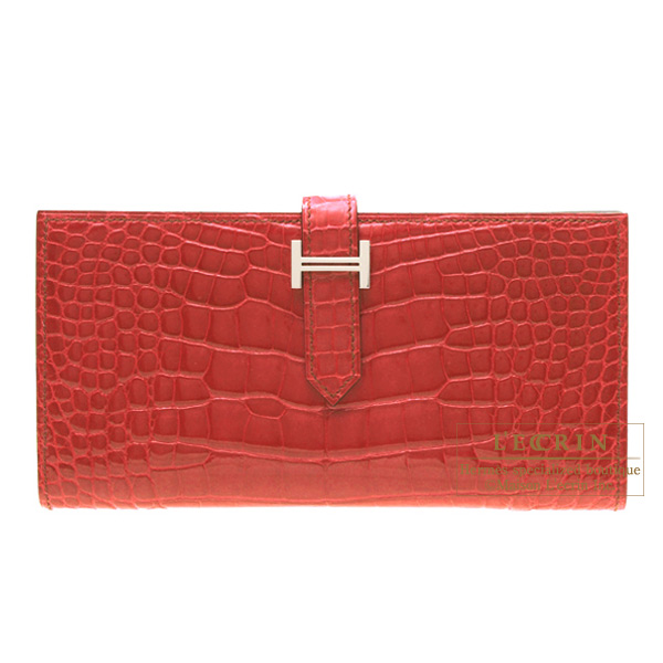 Hermes Bearn wallet with gusset Braise/Bright red Alligator crocodile skinSilver hardware