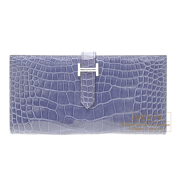 Hermes Bearn wallet with gussetBrighton blue Alligator crocodile skin Silver hardware