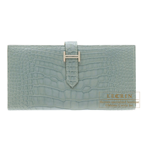 Hermes Bearn wallet with gusset Ciel/Sky blue Matt alligator crocodile skin Silver hardware