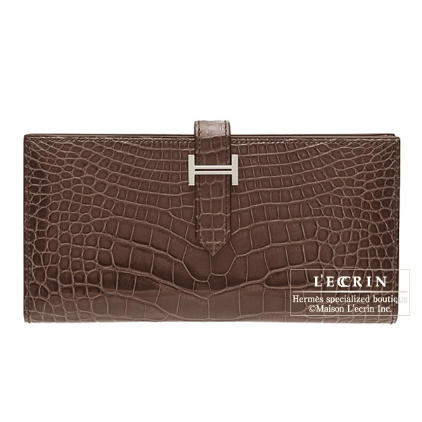 Hermes Bearn wallet with gusset Cocaon/Dark brown Alligator crocodile skinSilver hardware