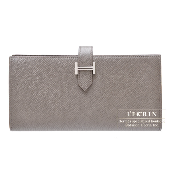 Hermes Bearn wallet with gussetEtain/Etain grey Epsom leatherSilver hardware