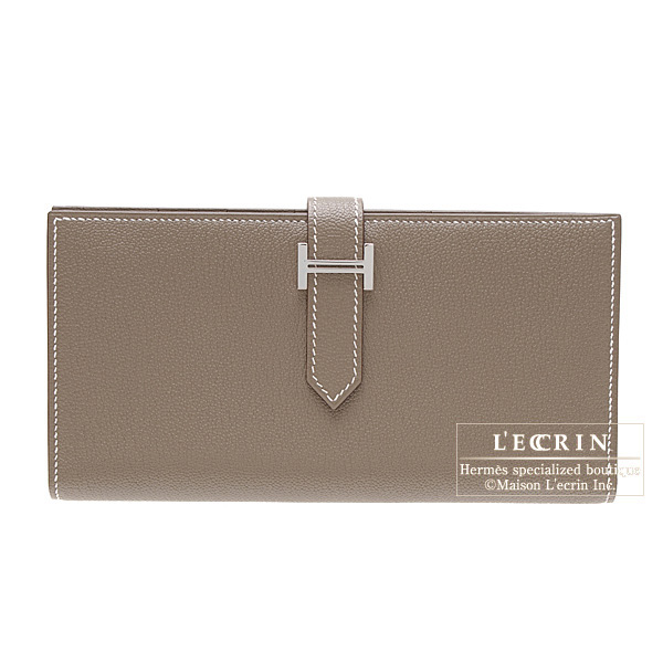 Hermes Bearn wallet with gussetEtoupe/Taupe grey Chevre goatskinSilver hardware