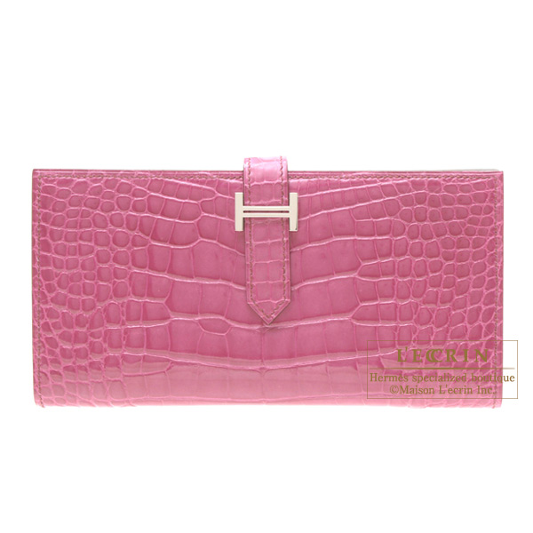 Hermes Bearn wallet with gusset Fuschia pink Alligator crocodile skinSilver hardware