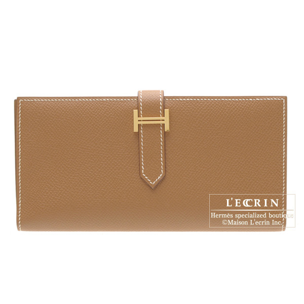 Hermes Bearn wallet with gusset Gold Epsom leather Gold hardware