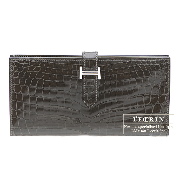 Hermes Bearn wallet with gusset Graphite Alligator crocodile skinSilver hardware