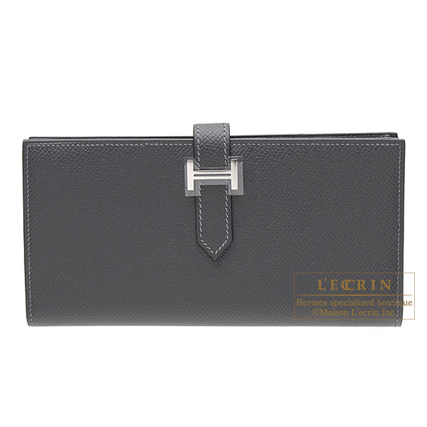 Hermes Bearn wallet with gusset Graphite Epsom leather Silver hardware