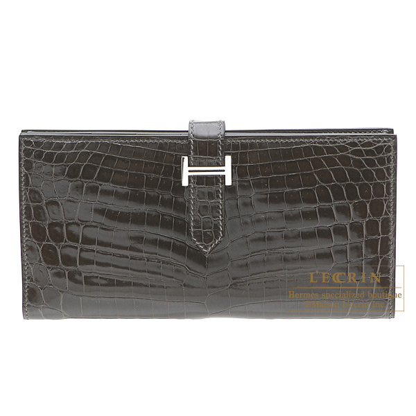 Hermes Bearn wallet with gusset Graphite Niloticus crocodile skinSilver hardware