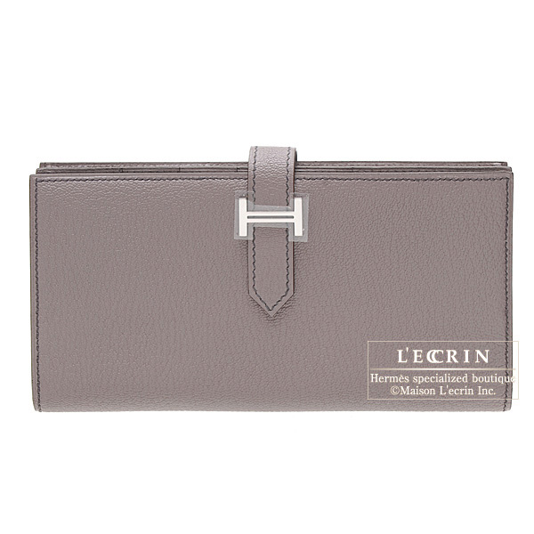 Hermes Bearn wallet with gusset Grioret/Grey Chevre goatskin Silver hardware