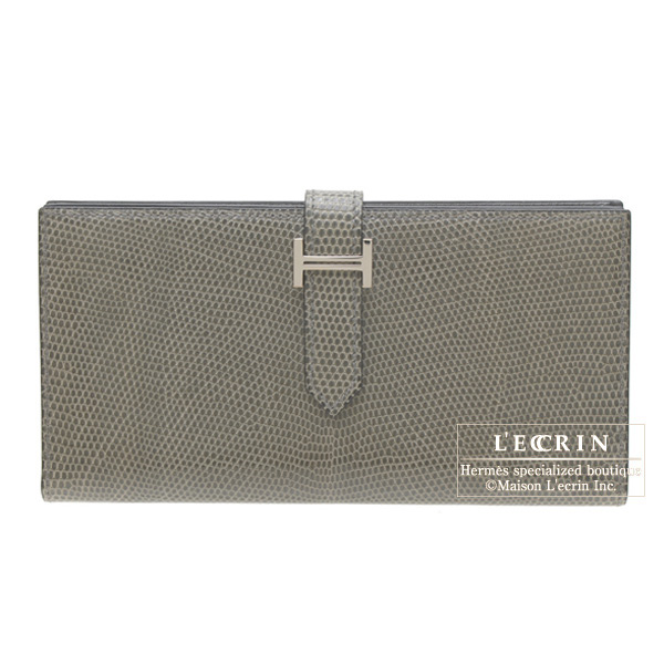 Hermes Bearn wallet with gusset Gris fonce/Dark grey Lizard skinSilver hardware
